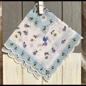 Bridal shower gift! Vintage hankie with sea glass
